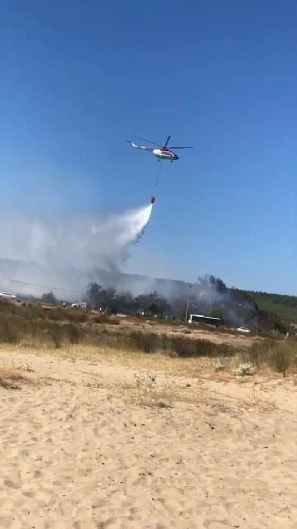 Balıkesir'deki yangın tatilcilerde korku yarattı