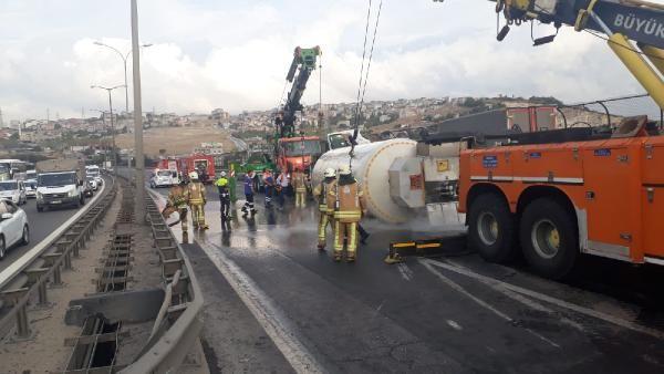 TEM Altınşehir'de tanker devrildi
