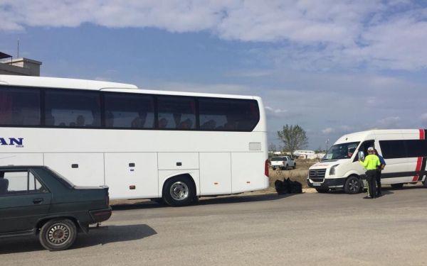 Keşan Otogarı'nda otobüsler denetlendi