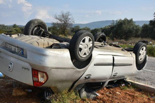 Aydın'da otomobil refüje çarpıp takla attı