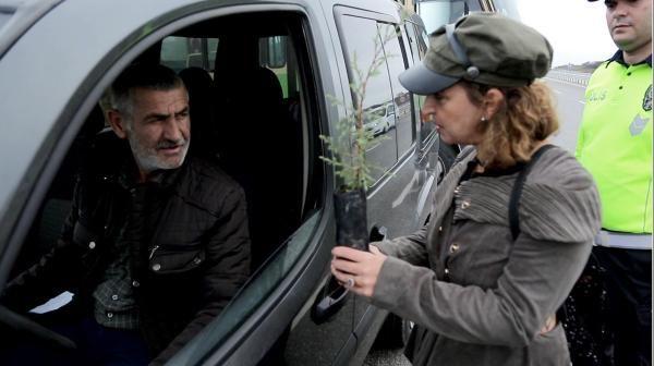 Trafik cezası yazılacağını sanan sürücü, 'fidan' dikti -4