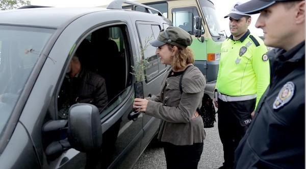 Trafik cezası yazılacağını sanan sürücü, 'fidan' dikti -3