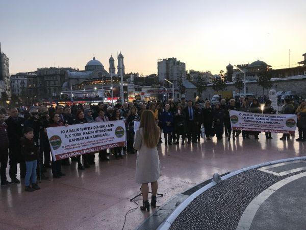 Türk tarihinin ilk kadın mitinginin yüzüncü yılı Taksim'de kutlandı -2
