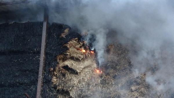 Kopan elektrik kablosu çiftlikte samanlığı yaktı -7