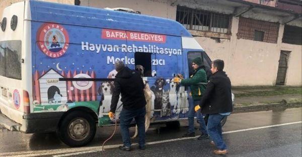 Demir parmaklıklara sıkışan köpeği trafik ekipleri kurtardı -2