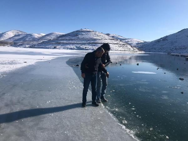 Gökçedere Gölü buz tuttu, çeşme ve dereler dondu -8
