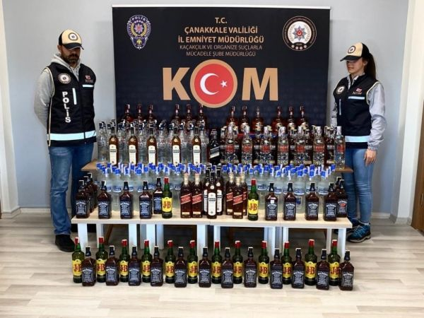 Çanakkale'de kaçak içki operasyonu -1