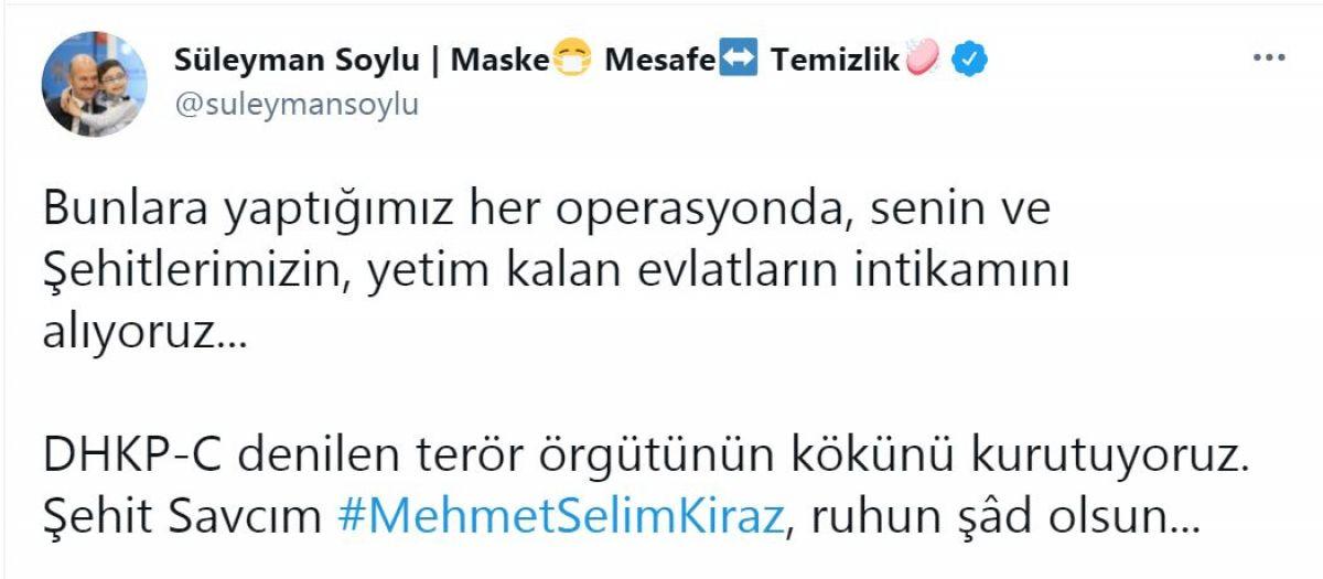 Süleyman Soylu dan Şehit Mehmet Selim Kiraz paylaşımı #1