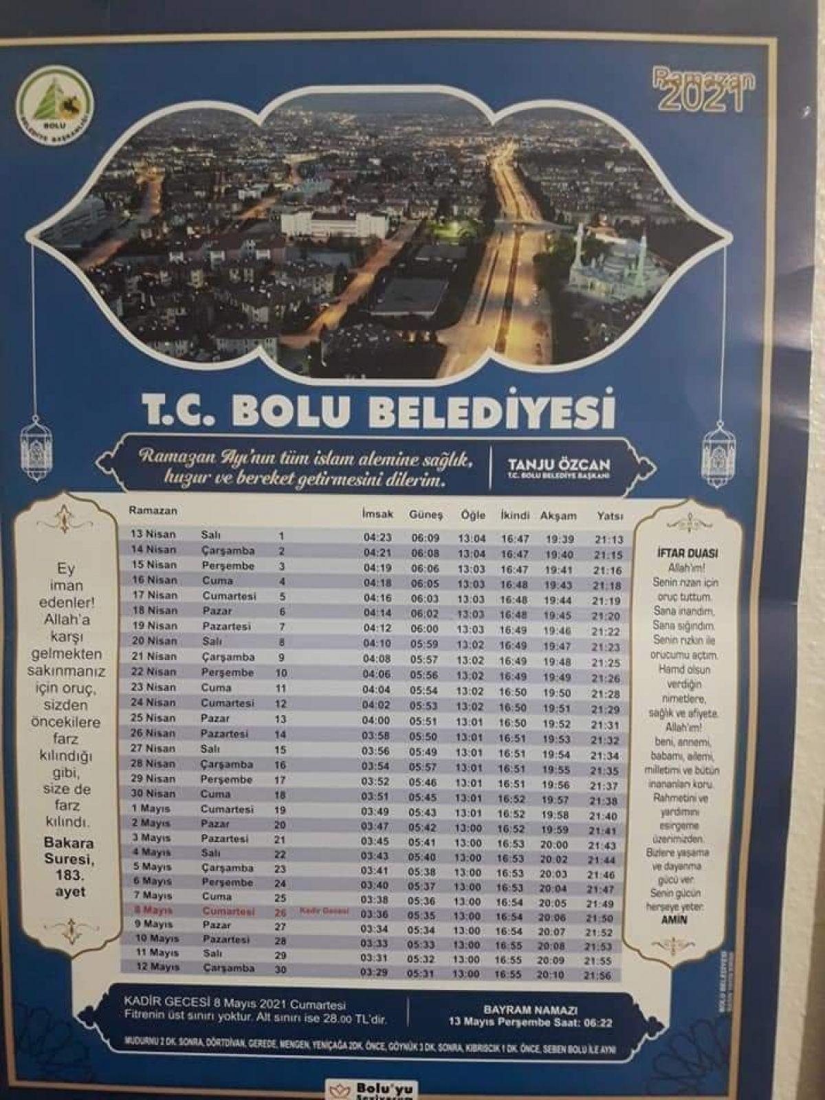 Bolu Belediye Başkanı Tanju Özcan dan  yanlış imsakiye  özrü #1