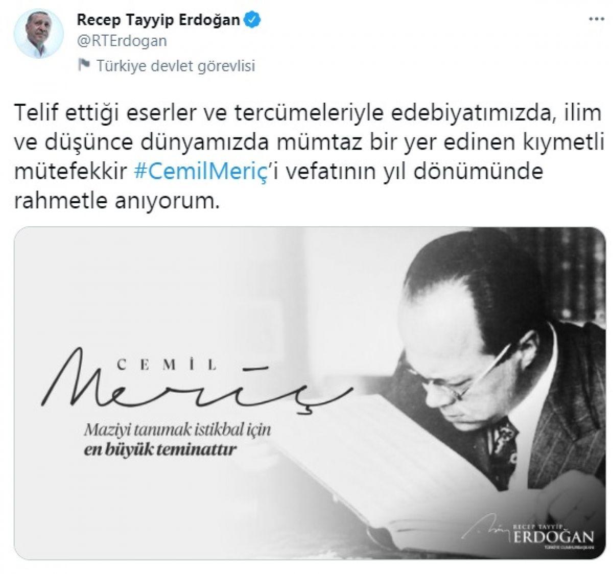 Cumhurbaşkanı Erdoğan, Cemil Meriç i andı #1
