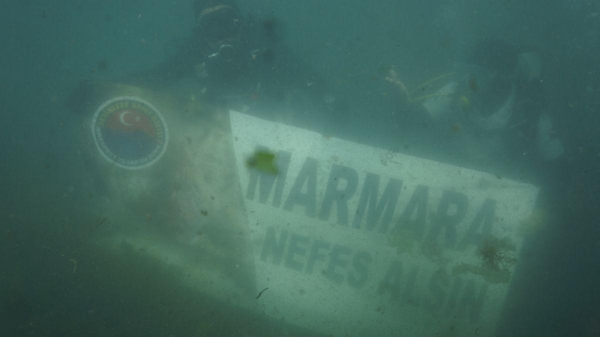 Kocaeli de dalgıçlar, 15 metre derinden Marmara Denizi için haykırdı #7