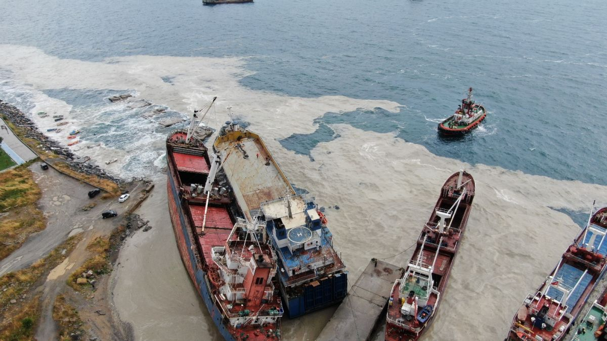 Kartal da bir gemi, halatının kopması sonucu başka bir gemiye çarptı #1