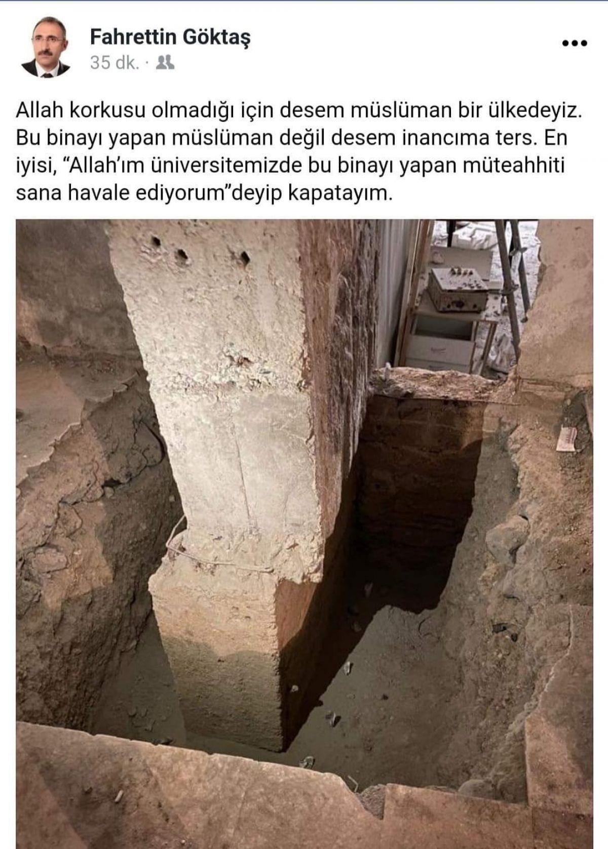 Kayık kolonu gören Fırat Üniversitesi rektörü: Müteahhidi Allah a havale ediyorum #1