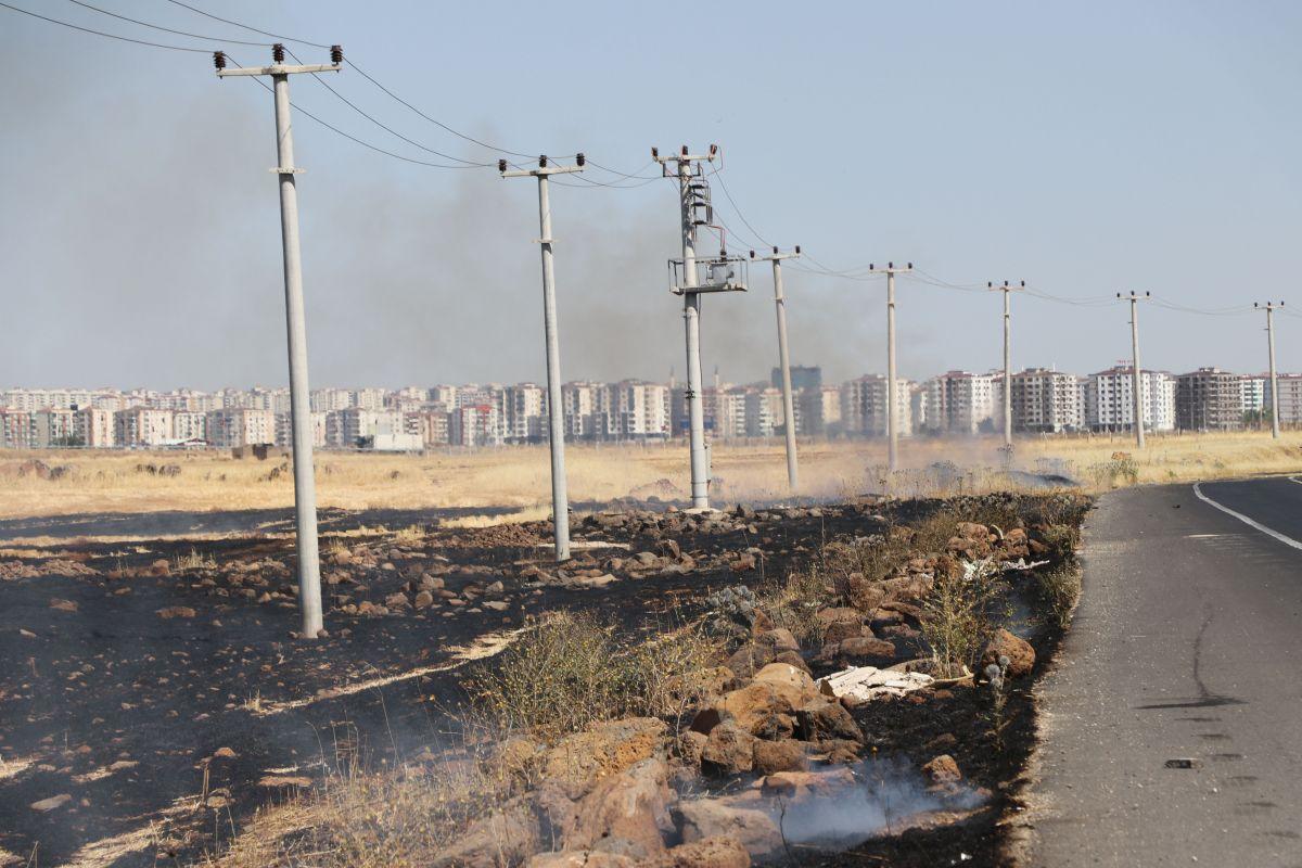 Diyarbakır da havalimanı yakınında anız yangını #5