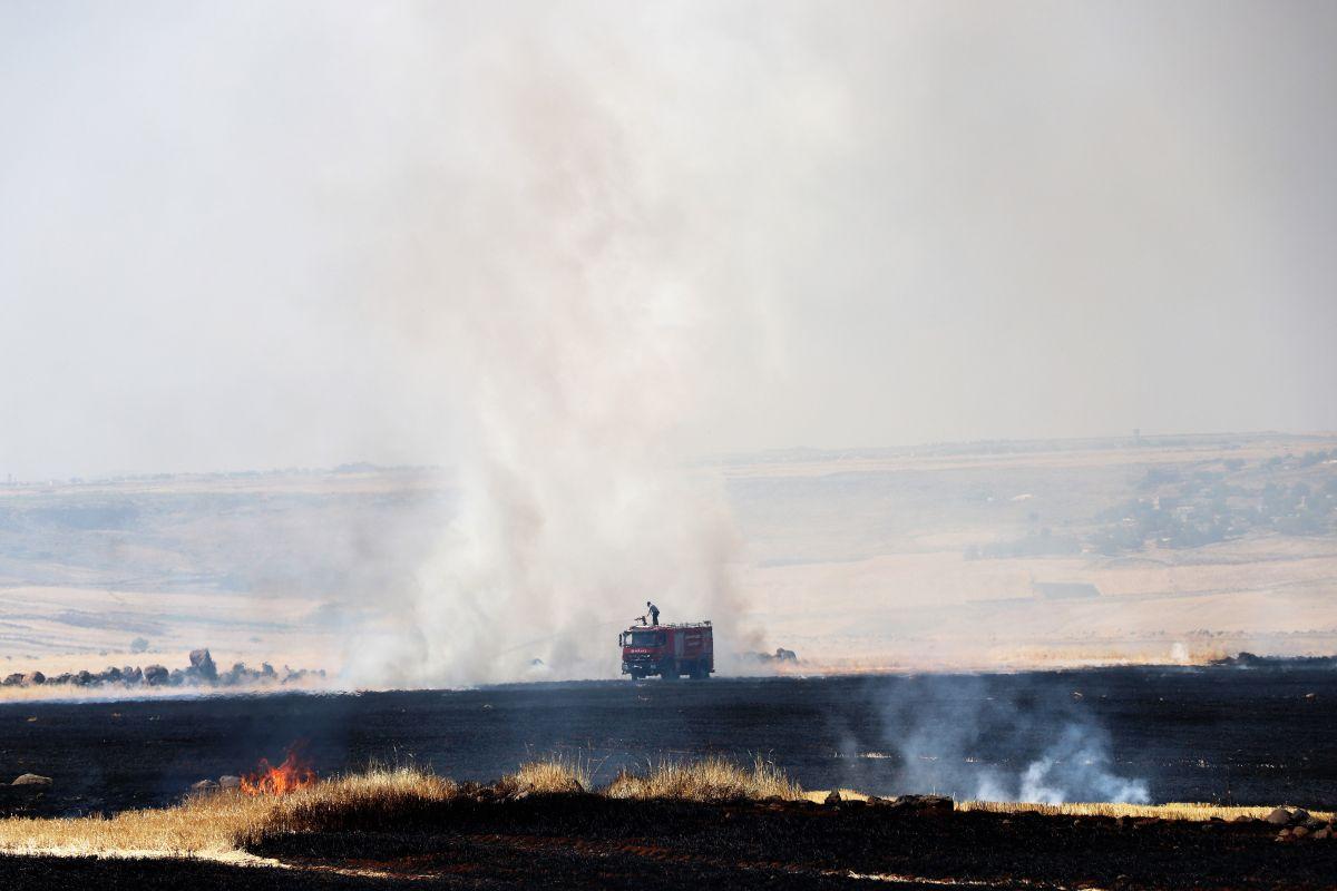 Diyarbakır da havalimanı yakınında anız yangını #6
