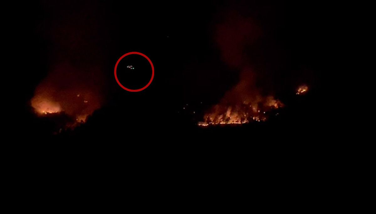 Isparta daki yangına gece görüşlü helikopterle müdahale #3