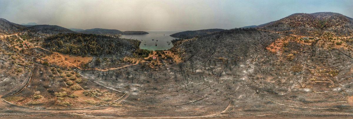 Bodrum ve Milas ta yanan alanlar drone ile havadan görüntülendi #7