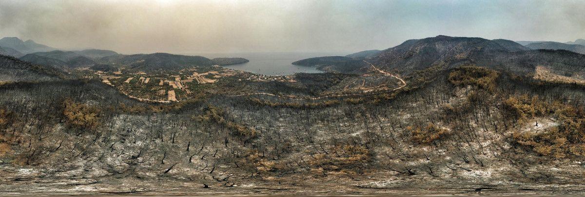 Bodrum ve Milas ta yanan alanlar drone ile havadan görüntülendi #6