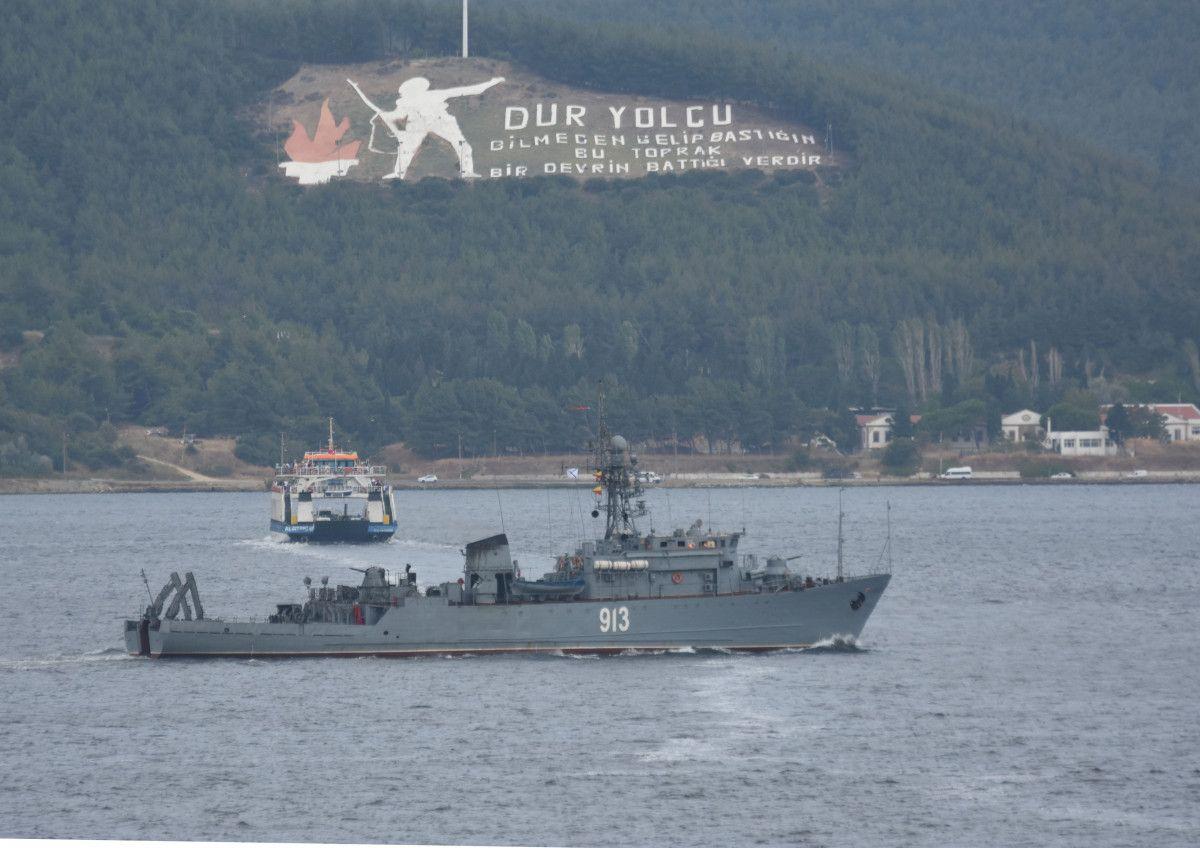 Çanakkale den geçen Rus mayın tarama gemisi, Marmara ya yol aldı #1