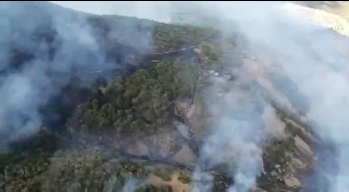 Tunceli de çıkan yangına havadan müdahale ediliyor #1