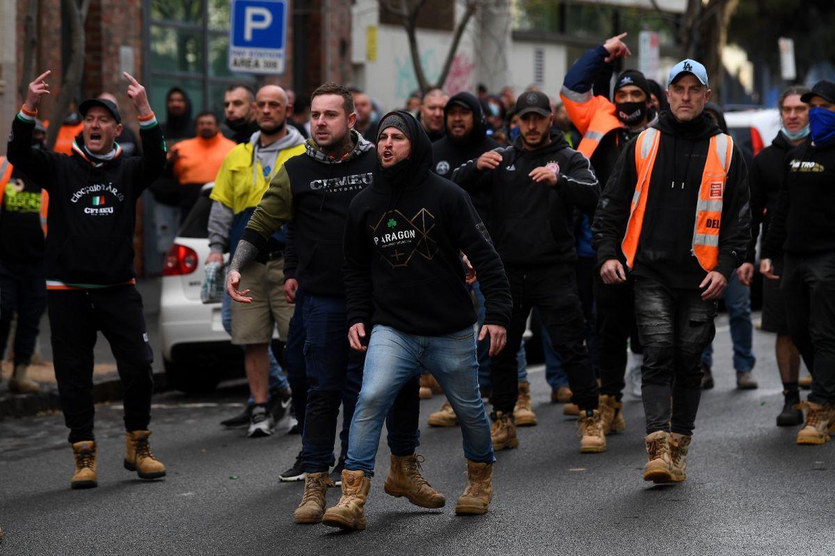 Avustralya'da inşaat işçilerinden aşı karşıtı protesto: Şantiyeler kapatıldı #8