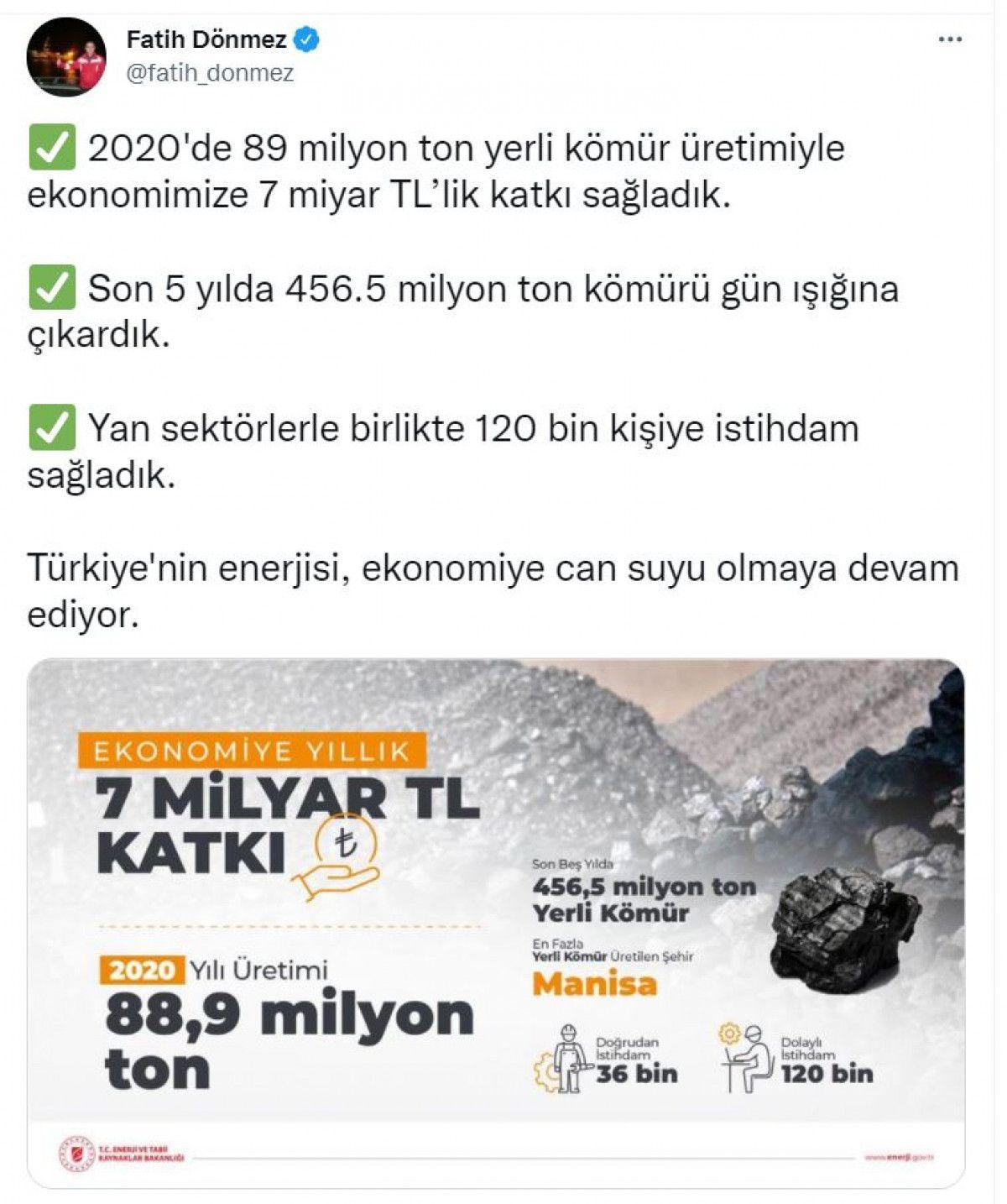 Türkiye de son 5 yılda 456.5 milyon ton kömür çıkarıldı #1