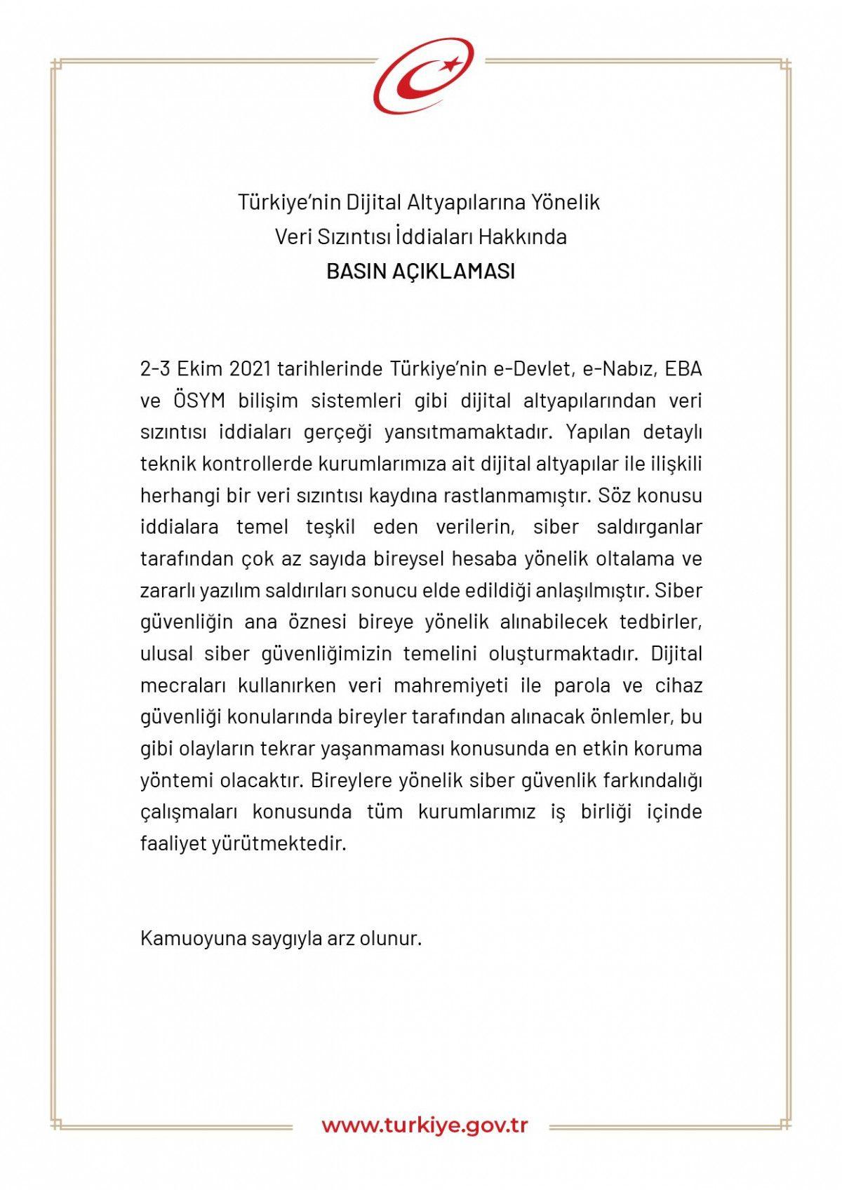 e-Devlet ten dijital veri sızıntısı iddialarına ilişkin açıklama #1