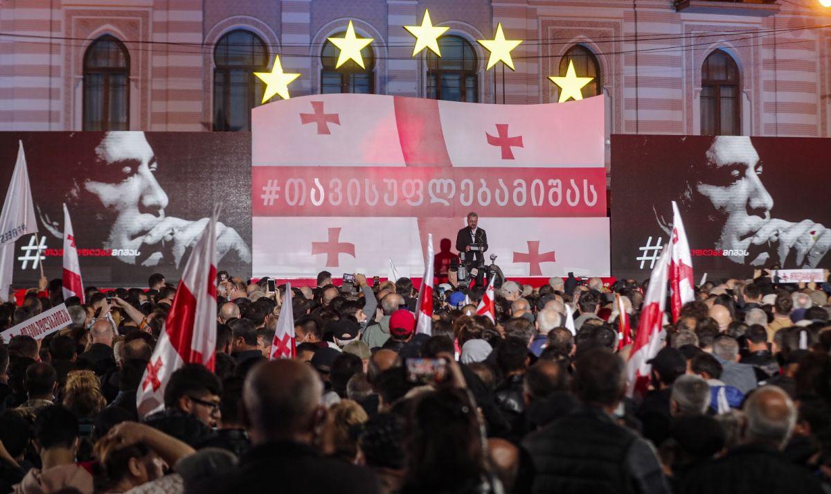 Gürcistan'da eski Cumhurbaşkanı Saakaşvili ye destek yürüyüşü #3