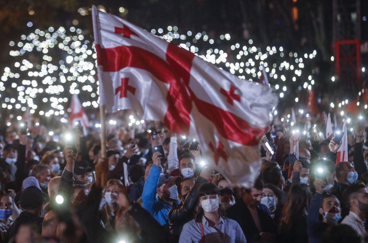 Gürcistan'da eski Cumhurbaşkanı Saakaşvili ye destek yürüyüşü #4