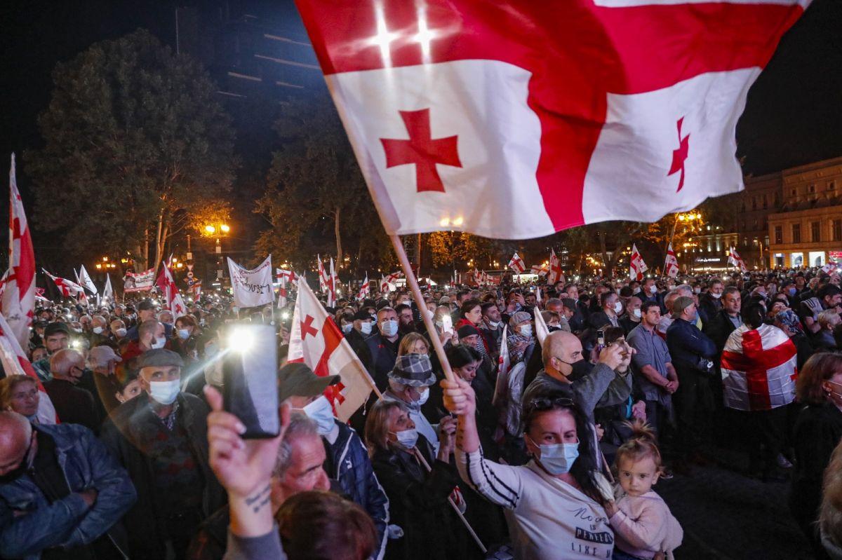 Gürcistan'da eski Cumhurbaşkanı Saakaşvili ye destek yürüyüşü #6