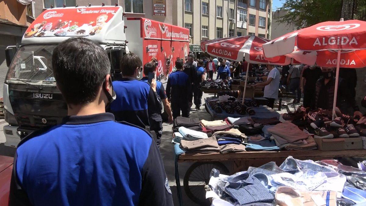 Konya'da bayram öncesi kurulan seyyar tezgahlara müdahale edildi