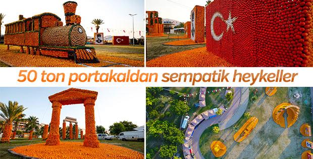 Finike'yi 50 ton portakaldan heykelle süslediler