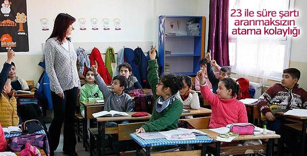Kadrolu öğretmenlere 23 il için atama isteği