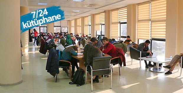 7 gün 24 saat hizmet veren kütüphaneye büyük ilgi