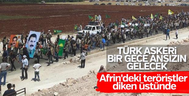 Afrin'de PKK'lıların protesto yürüyüşü