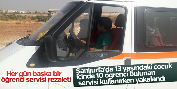 Durdurulan okul servisinin şoförü 13 yaşında çocuk çıktı