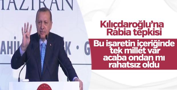 Erdoğan'dan Kılıçdaroğlu'na Rabia tepkisi