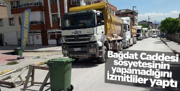 Kocaeli'de vatandaşlardan hafriyat kamyonlarına tepki