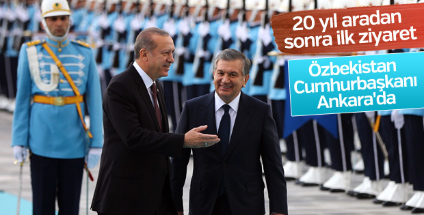 Erdoğan, Mirziyoyev'i resmi törenle karşıladı