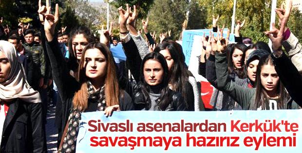Sivas'ta Ülkücü öğrencilerden Kerkük protestosu