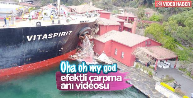 İstanbul Boğazı'ndaki gemi kazasının görüntüsü