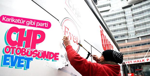 CHP otobüslerinden 'evet' mührünü kaldırttı