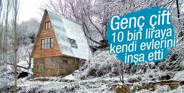 Genç çift İzmir'de 10 bin liraya kendi evlerini inşa etti