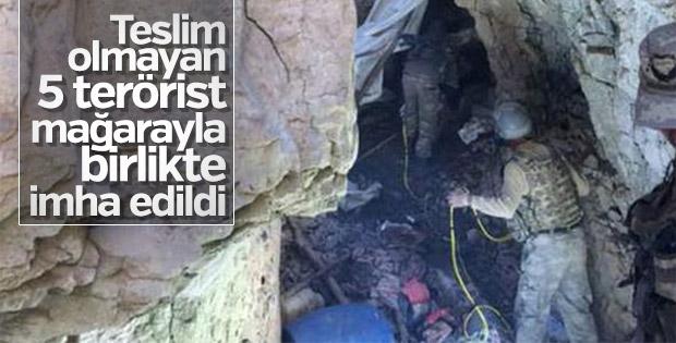 Teröristler kazdıkları mağarada öldürüldü