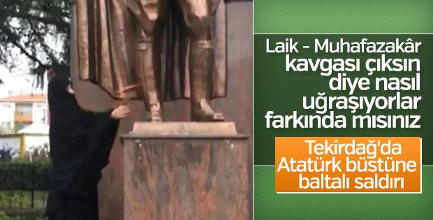 Tekirdağ'da bir kadın Atatürk Anıtı'na saldırdı
