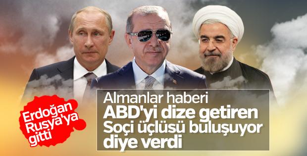 Erdoğan Soçi'deki üçlü Suriye zirvesine gitti