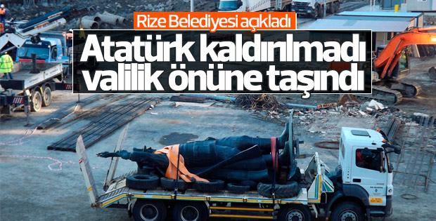 Rize'deki Atatürk heykeli tören alanına yerleştirildi