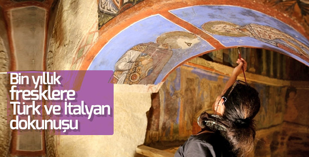 Bin yıllık freskler aslına uygun olarak restore ediliyor