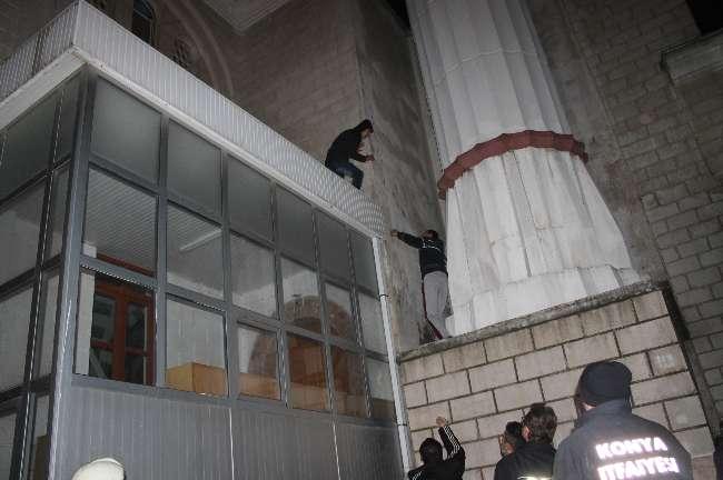 Konya'da bir camide intihar girişimi
