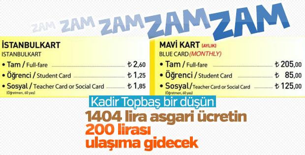 İstanbul'da toplu ulaşım ücretlerinde yeni tarife
